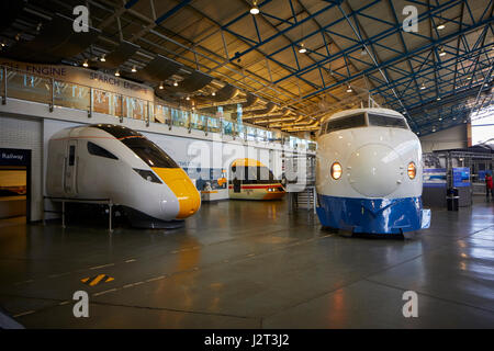 West Japan Railways Shinkansen 'Bullet Train Great Hall York, National Railway Museum. - Stock Photo