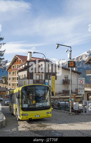 A local bus service operating in Sauze d'Oulx ski resort, Turin, Piedmont, Italy - Stock Photo