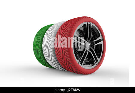 Colorful tires formation isolated on a white background - Stock Photo
