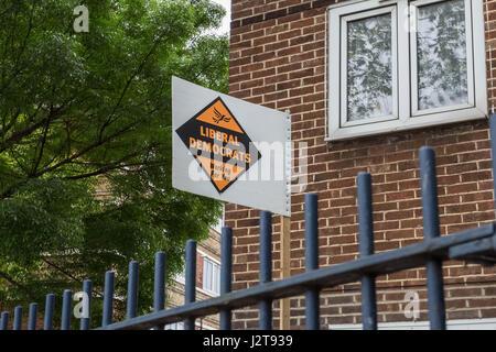 London, UK. 30th April, 2017. Liberal Democrats election board in Bermondsey south east London © Guy Corbishley/Alamy - Stock Photo