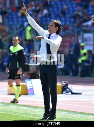 Rome, Italy. 30th Apr, 2017. Lazio's head coach Simone Inzaghi gestures during a Italian Serie A soccer match between - Stock Photo