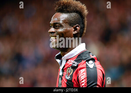 Nice. 30th Apr, 2017. Mario Balotelli from OGC Nice reacts during the French Ligue 1 soccer match with Paris St Germain in Nice, France on April 30, 2017. OGC Nice won 3-1. Credit: Chen Yichen/Xinhua/Alamy Live News