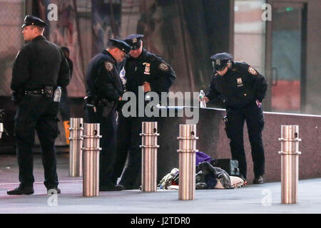 New York, USA. 01st May, 2017. Police are seen in the Times Square area of Manhattan in New York City early Monday - Stock Photo