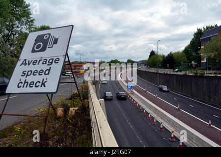 Bristol, UK. 01st May, 2017. M32 Bristol motorway. Newly installed bright yellow average speed cameras have caught - Stock Photo