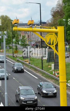 Bristol, UK. 01st May, 2017. M32 Bristol motorway. Newly installed bright yellow average speed cameras have caught - Stock Photo