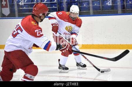 Russian President Vladimir Putin plays ice hockey during a training session Olympic Shaiba Arenain April 30, 2017 - Stock Photo