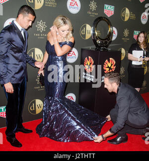 Sydney, Australia. 1st May, 2017.  Fashion stylist and designer Donny Galella seen working styling on the red carpet - Stock Photo