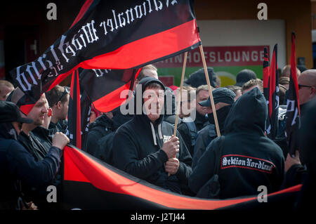 Halle, Germany . 01st May, 2017. The Far right (Der Rechts) congregate at the Hauptbahnhof in Halle for a planned - Stock Photo
