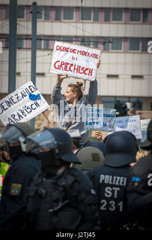Halle, Germany . 01st May, 2017. Counter demonstrators to a far right May Day march in Halle, Saxony-Anhalt. The - Stock Photo