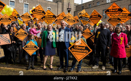 London, UK. 1 May 2017. Tim Farron, Leader of the Liberal Democrats is campaigning alongside North London candiates - Stock Photo