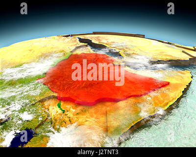 Ethiopia in red on model of planet Earth as seen from orbit. 3D illustration with detailed planet surface. Elements - Stock Photo