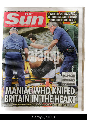 The headlines from The Sun newspaper from 23rd March 2017 after the Westminster Bridge terrorist attack in London. - Stock Photo