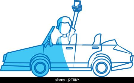 character man holding smartphone in car blue line