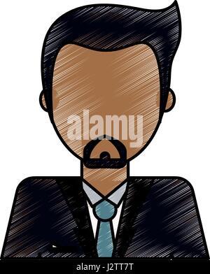 color pencil image caricature faceless half body man with beard - Stock Photo