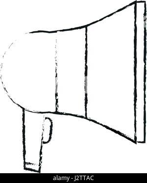 blurred silhouette megaphone element sound - Stock Photo