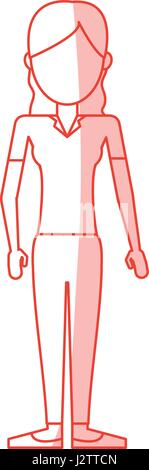 red silhouette shading caricature faceless woman with blouse and pants - Stock Photo