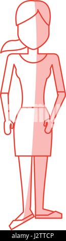 red silhouette shading caricature faceless woman with blouse and skirt - Stock Photo