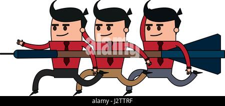 color image cartoon teamwork holding arrow to direction - Stock Photo
