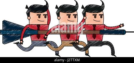 color pencil image cartoon teamwork holding arrow to direction - Stock Photo