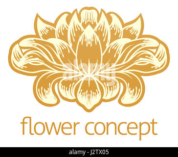 An abstract flower floral design concept icon - Stock Photo