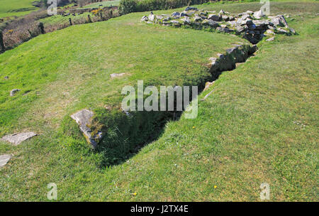 Water drainage channel at Drombeg stone circle site, County Cork, Ireland, Irish Republic - Stock Photo