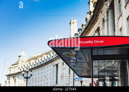 LONDON, UNITED KINGDOM - August 22, 2015: Piccadilly circus bus stop and architecture bokeh in London, England - Stock Photo
