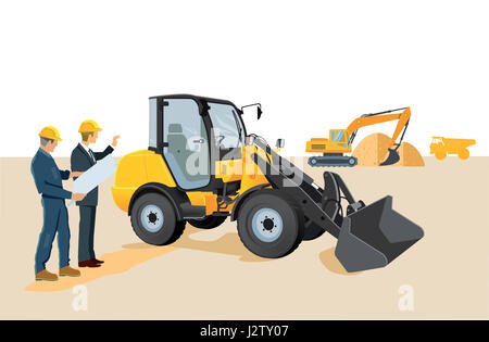 Construction site with wheel loaders and excavators - Stock Photo