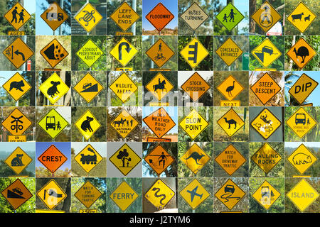 All the famous Australian traffic signs - Stock Photo