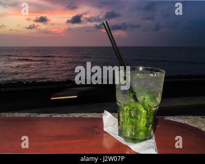 Mojito drink at a Cartagena de Indias wall bar - Stock Photo