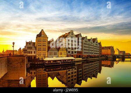 Gdansk at sunrise - The historic city in Poland. - Stock Photo
