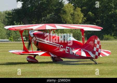 Cosford UK - June 9 2013: Pitts Special high performance aerobatic biplane first flown in 1944 and manufactured - Stock Photo
