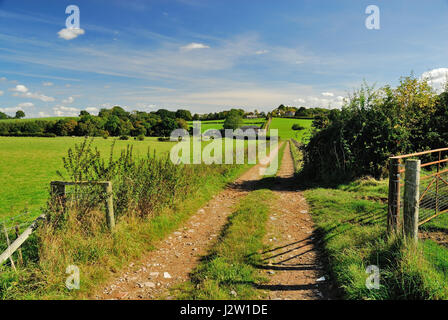 A public right of way along a fence-lined farm track. - Stock Photo