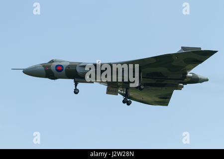 Cosford UK - June 9 2013: RAF Avro Vulcan bomber XH558 Spirit of Great Britain was the last flying example of the - Stock Photo