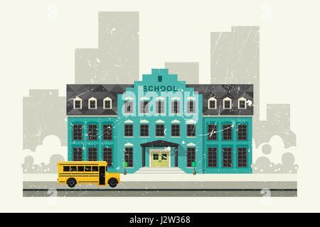 School and yellow bus - Stock Photo