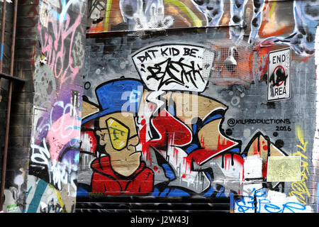 Urban Street Art around Hosier Lane and AC/DC Lane, Melbourne, Victoria, Australia on May 11th 2016  Photo by Keith - Stock Photo