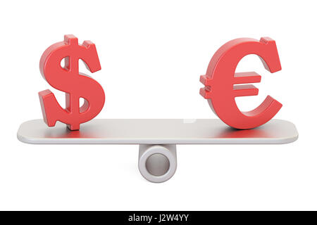Dollar or Euro, balance concept. 3D rendering isolated on white background - Stock Photo