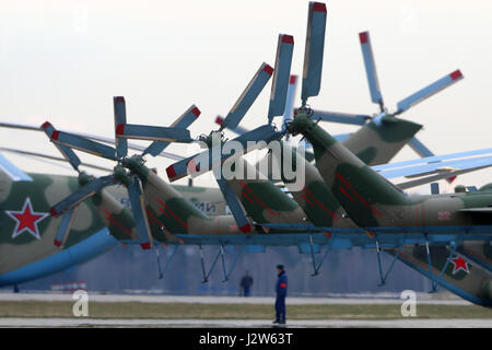 KUBINKA, MOSCOW REGION, RUSSIA - APRIL 24, 2017: Tail rotors of Mil Mi-8AMTSH helicopters of Russian air force during - Stock Photo