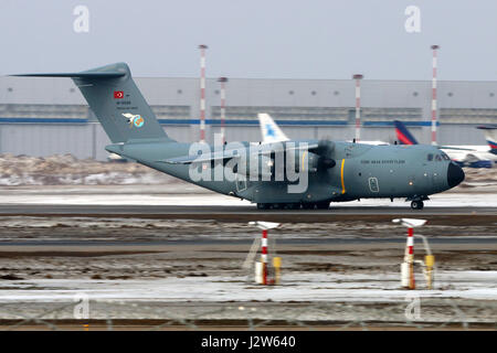 VNUKOVO, MOSCOW REGION, RUSSIA - MARCH 8, 2017: Airbus A400M 14-0028 of Turkish Air Force at Vnukovo international - Stock Photo