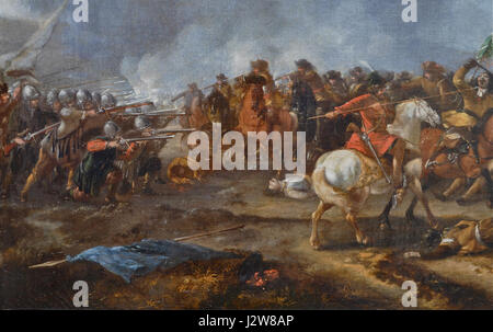 A cavalry battle scene by Philips Wouwerman (detail) 04 - Stock Photo