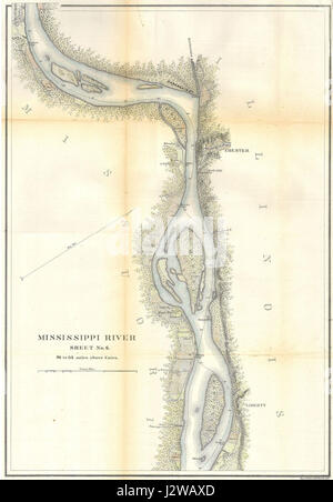 1865 U.S.C.S. Map of the Mississippi River around Chester Illinois - Geographicus - RivMiss6-USCS-1865 - Stock Photo
