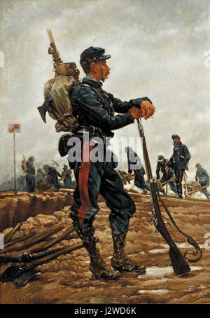A French Military Engineer by Alphonse Marie Adolphe de Neuville - Stock Photo