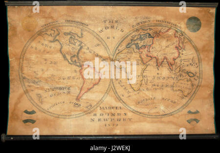 1833 School Girl Manuscript Wall Map of the World on Hemisphere Projection (Marcia Rounds of Newport - Geographicus - World-rounds-1833