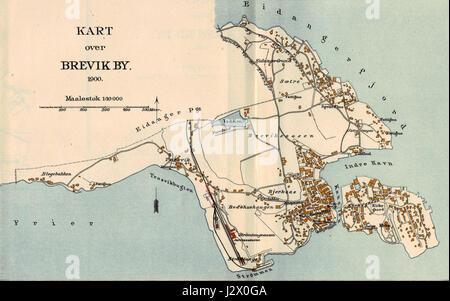 Brevik map 1900 - Stock Photo