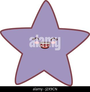 kawaii star icon - Stock Photo