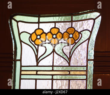 Art nouveau detail in stained glass windows. Ålesund, Møre og Romsdal, Norway. - Stock Photo