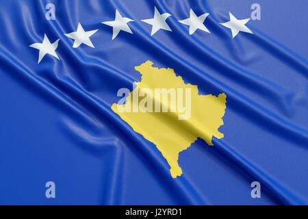 Kosovo flag. Wavy fabric high detailed texture. 3d illustration rendering - Stock Photo