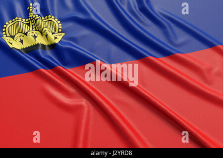 Liechtenstein flag. Wavy fabric high detailed texture. 3d illustration rendering - Stock Photo