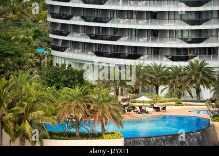 Horizontal view of the Phoenix Island Resort in Sanya, Hainan Island, China. - Stock Photo