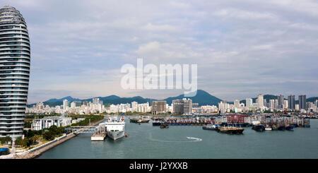 Horizontal Vertical Square view of the Phoenix Island in Sanya, Hainan Island, China.