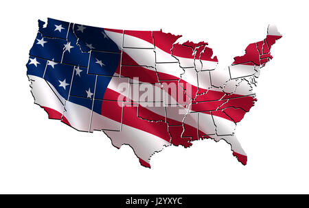 3d Map Of The Usa United States Of America Stock Photo